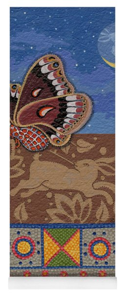 Yoga Mat featuring the painting Nightime - Tipiskaw, Cree by Chholing Taha