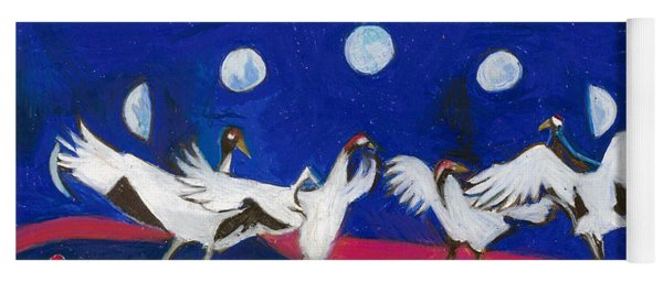 Yoga Mat featuring the painting Nine Dancing Cranes by Denise Weaver Ross