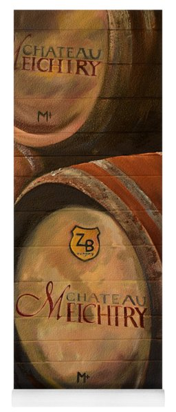 Yoga Mat featuring the painting No Wine Before It's Time - Barrels-chateau Meichtry by Jan Dappen