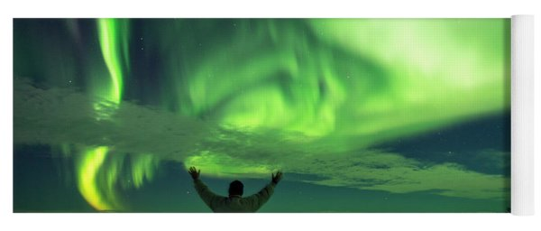 Northern Light In Western Iceland Yoga Mat