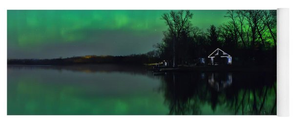 Yoga Mat featuring the photograph Northern Lights At Gull Lake by Susan Rissi Tregoning