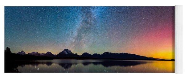Northern Lights Over Jackson Lake Yoga Mat