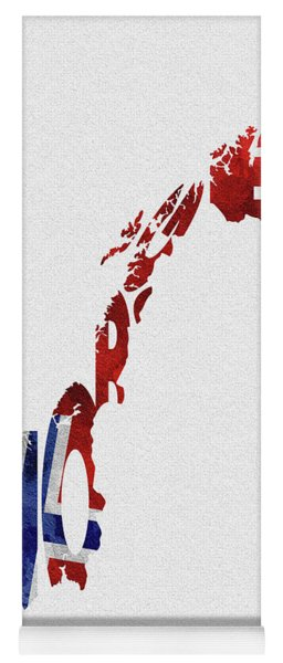 Norway Typographic Map Flag Yoga Mat