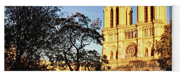 Yoga Mat featuring the photograph Notre Dame De Paris Facade by Barry O Carroll