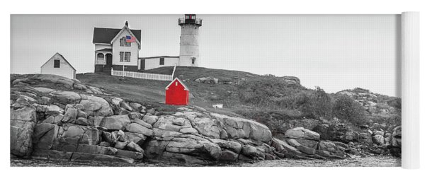 Nubble Lighthouse In Color And Black And White Yoga Mat