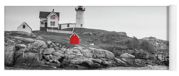 Yoga Mat featuring the photograph Nubble Lighthouse In Color And Black And White by Doug Camara