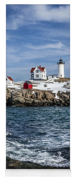 Nubble Lighthouse Winter Yoga Mat