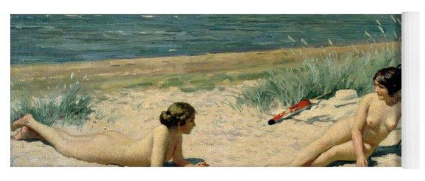 Nude Bathers On The Beach Yoga Mat