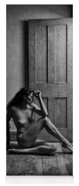 Nude Woman Sitting By Doorway In Abandoned Room Yoga Mat