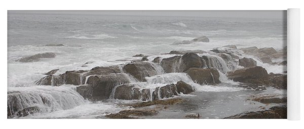 Ocean Waves Over Rocks Yoga Mat