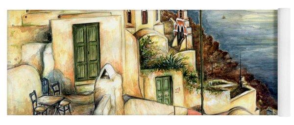 Oia Santorini Greece - Watercolor Yoga Mat