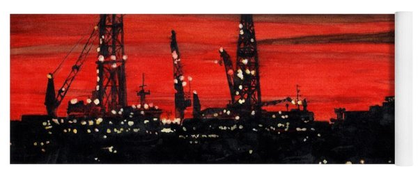 Oil Rigs Night Construction Portland Harbor Yoga Mat
