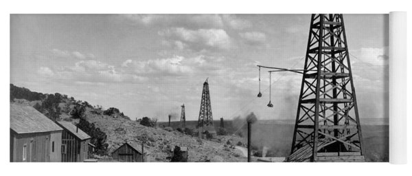 Yoga Mat featuring the photograph Oil Well, Wyoming, C1910 by Granger