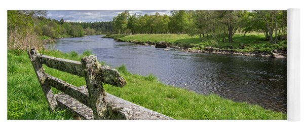 Old Bench Along Spey River, Scotland Yoga Mat