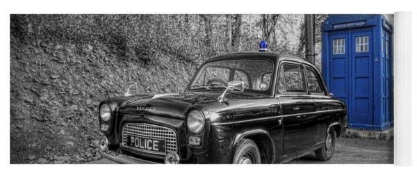 Old British Police Car And Tardis Yoga Mat
