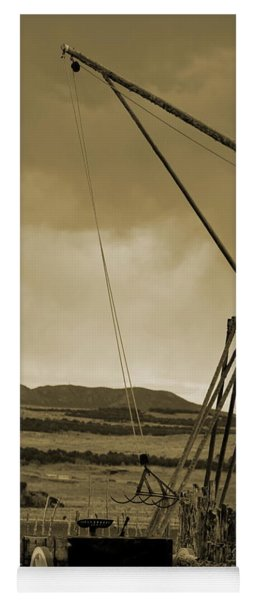 Old Crane And Shed Utah Countryside In Sepia Yoga Mat