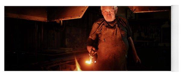 Old-fashioned Blacksmith Heating Iron Yoga Mat