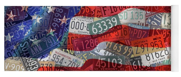 Old Glory In Recycled Vintage License Plates Yoga Mat