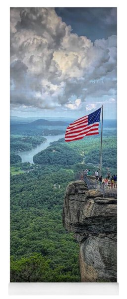 Old Glory On The Rock Yoga Mat