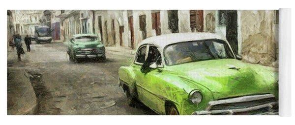 Old Green Car Yoga Mat