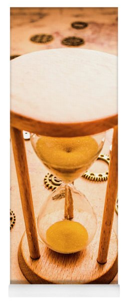 Old Hourglass Near Clock Gears On Old Map Yoga Mat
