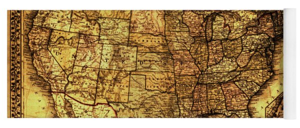 Old Map United States Yoga Mat
