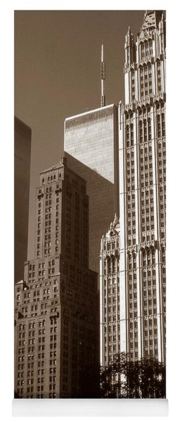 Old New York Photo - Woolworth Building And World Trade Center Yoga Mat