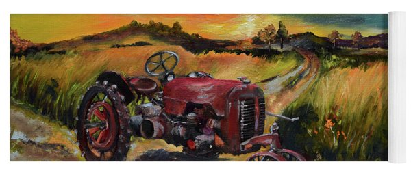 Yoga Mat featuring the painting Old Red At Sunset - Tractor by Jan Dappen