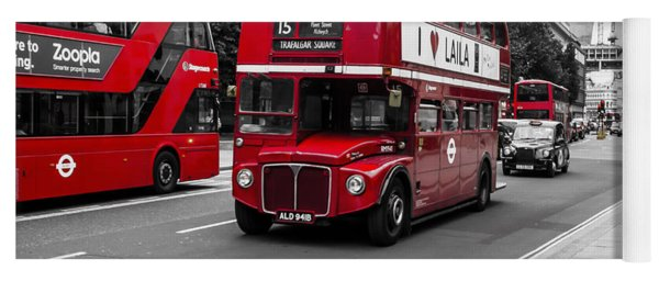Old Red Bus Bw Yoga Mat