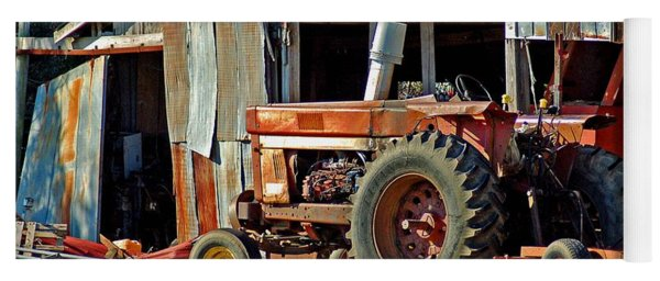 Old Red Tractor And The Barn Yoga Mat