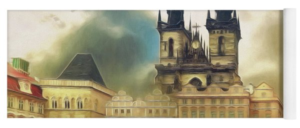 Old Town Square Prague In The Rain Yoga Mat
