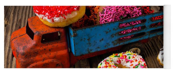 Old Toy Truck And Donuts Yoga Mat