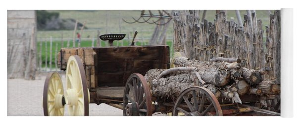 Old Tractor And Wagon In Foreground Cove Creek Fort Photography By Colleen Yoga Mat