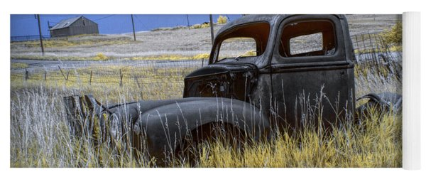 Old Truck In Infrared Lying In The Grass At The Ghost Town By Okaton South Dakota Yoga Mat