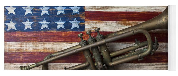 Old Trumpet On American Flag Yoga Mat