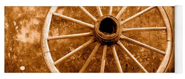 Old Wagon Wheel - Sepia Yoga Mat
