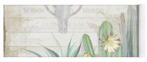Old West Cactus Garden W Longhorn Cow Skull N Succulents Over Wood Yoga Mat
