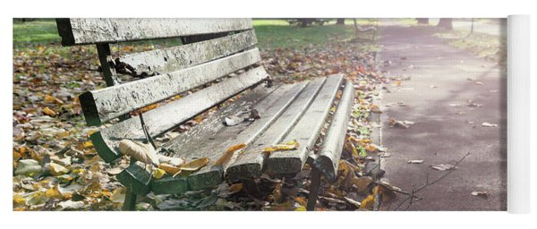 Rustic Wooden Bench During Late Autumn Season On Bright Day Yoga Mat