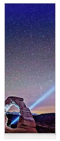 Olena Art Starry Night Pointer At Delicate Arch Moab National Park Yoga Mat