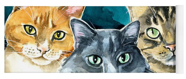Oliver, Willow And Walter - Cat Painting Yoga Mat