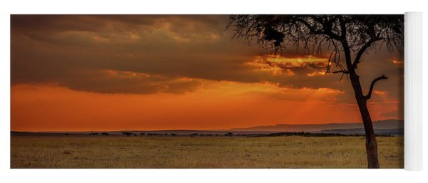 On A  Serengeti Evening  Yoga Mat