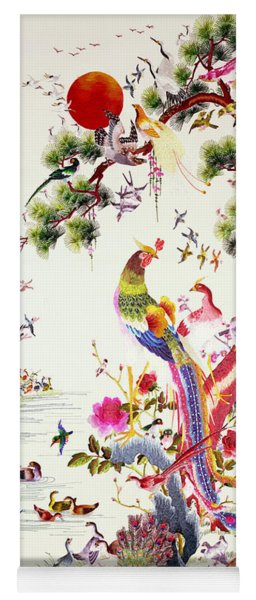 One Hundred Birds With A Phoenix, Canton, Republic Period Yoga Mat