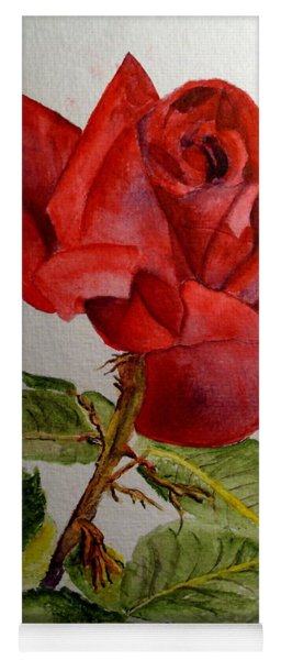 One Single Red Rose Yoga Mat