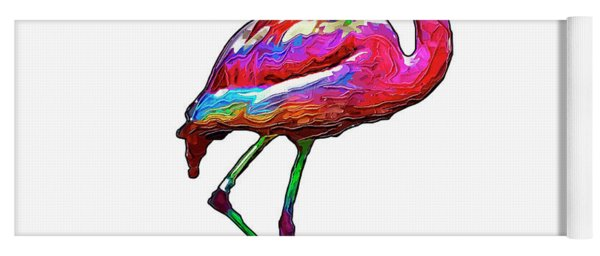 One Step At A Time Abstract Flamingo Yoga Mat
