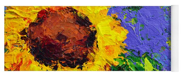 One Sunflower Floral Still Life Modern Impressionistic  Palette Knife Work Yoga Mat