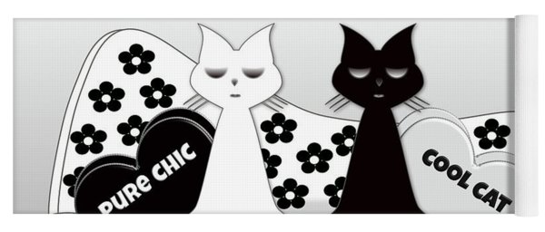 Opposites Attract - Black And White Cats On The Sofa Yoga Mat