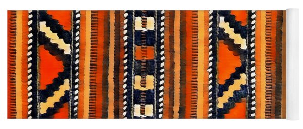 Orange Abstact Pattern Lines And Stripes Yoga Mat