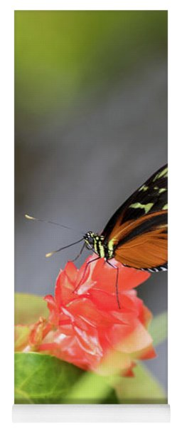 Orange And Black Butterfly Yoga Mat