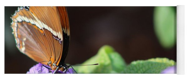 Orange And Brown Butterfly On Purple Yoga Mat