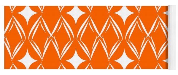 Orange And White Diamonds Yoga Mat